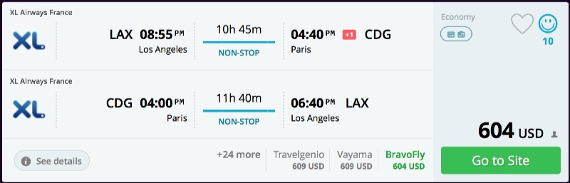 Los Angeles to Paris
