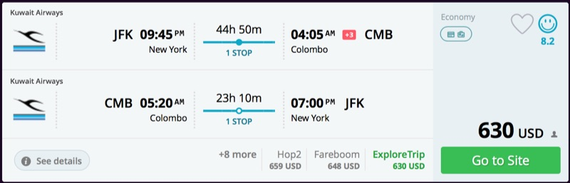 New York to Colombo