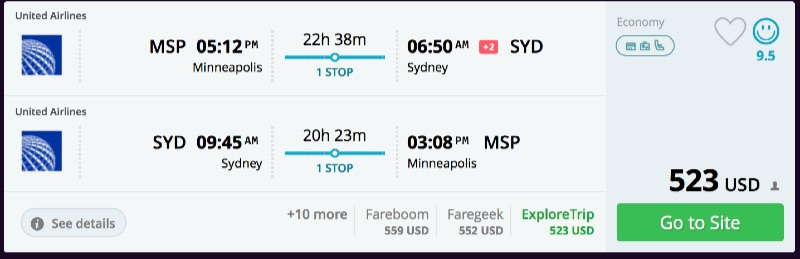 Minneapolis to Sydney