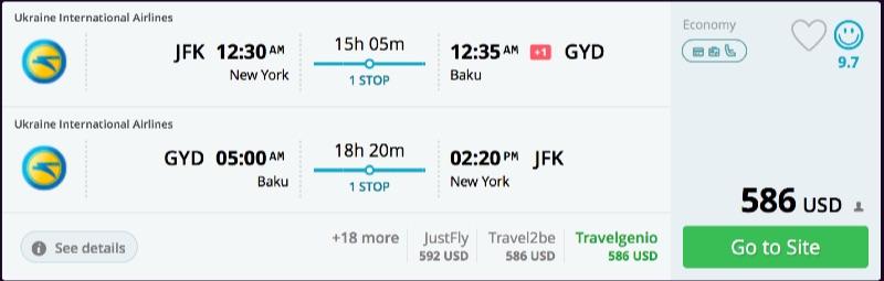 New York to Baku
