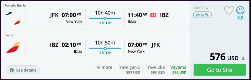 New York to Ibiza