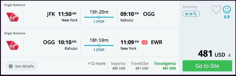 New York to Kahului