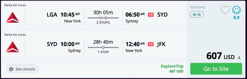 New York to Sydney