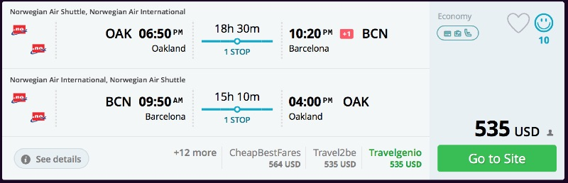 San Francisco to Barcelona