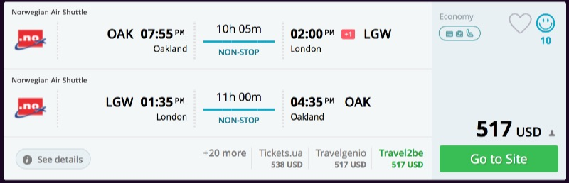 San Francisco to London