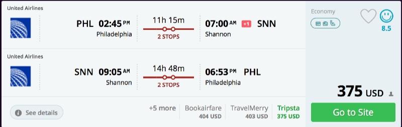 Philadelphia to Shannon