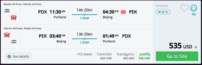 Portland to Beijing