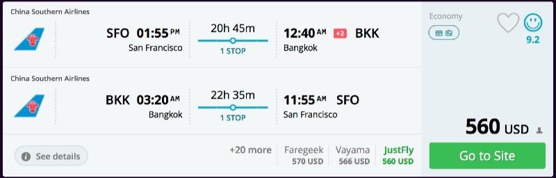 San Francicsco to Bangkok