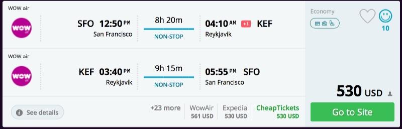 San Francisco to Reykjavik