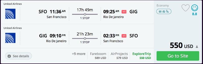 San Francisco to Rio de Janeiro