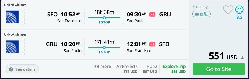 San Francisco to Sao Paulo