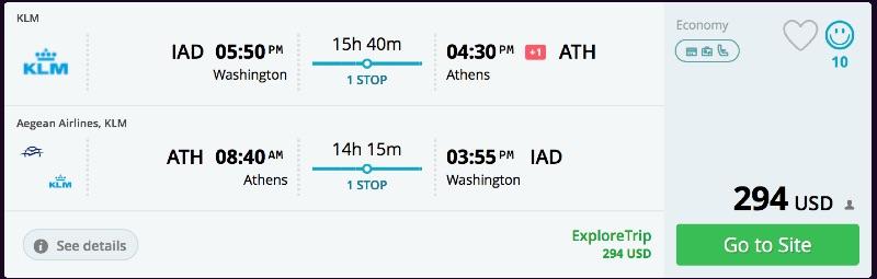 Washington to Athens