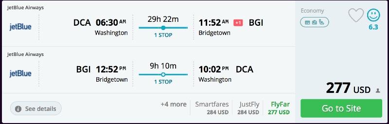 Washington to Barbados