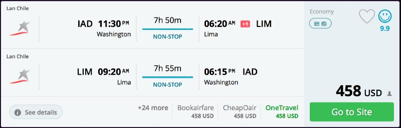 Washington to Lima