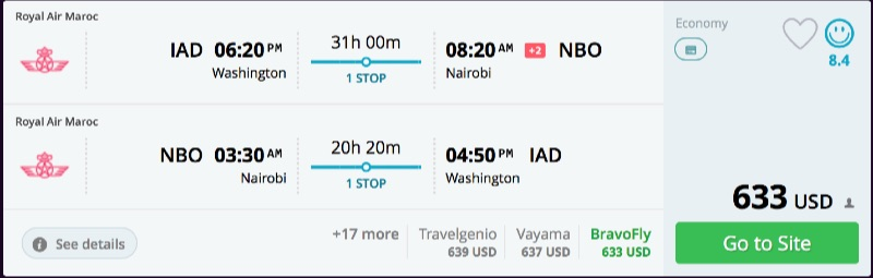 Washington to Nairobi