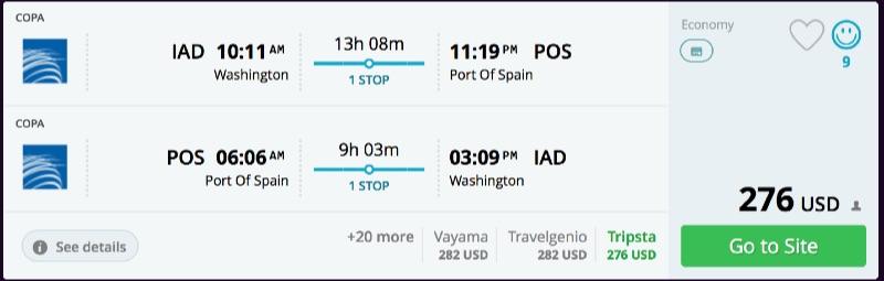 Washington to Port of Spain