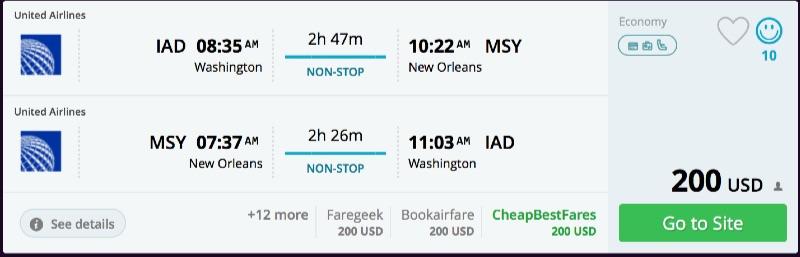 Washington to New Orleans