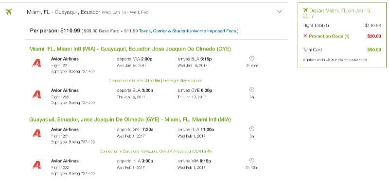Miami to Ecuador
