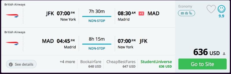 New York to Madrid
