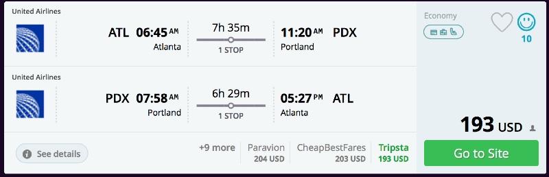 Atlanta to Portland