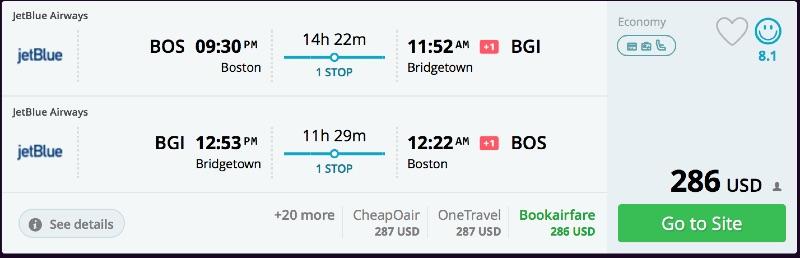 Boston to Barbados