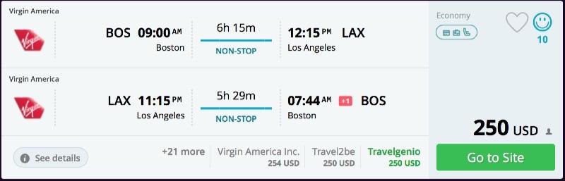 Boston to Los Angeles