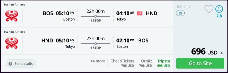 Boston to Tokyo