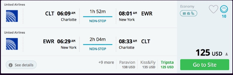 Charlotte to New York