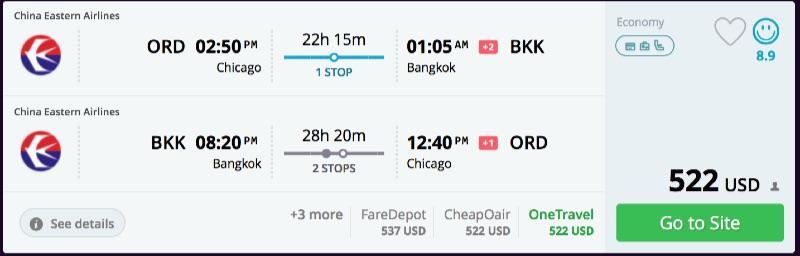 Chicago to Bangkok