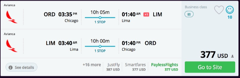 Chicago_to_Lima_flights_-_business