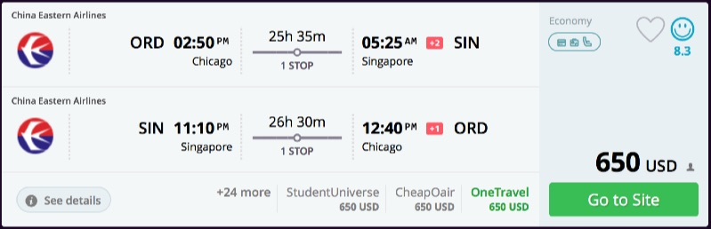Chicago to Singapore
