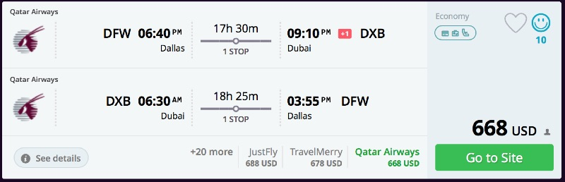 Dallas to Dubai