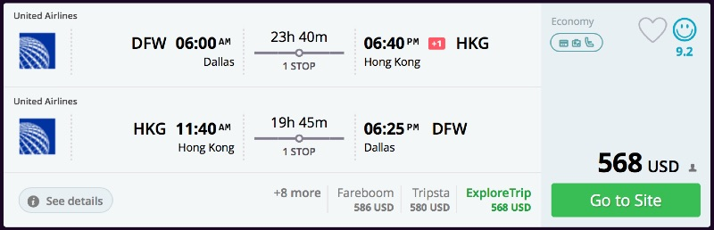 Dallas to Hong Kong