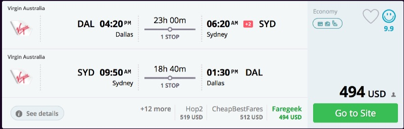 Dallas to Sydney
