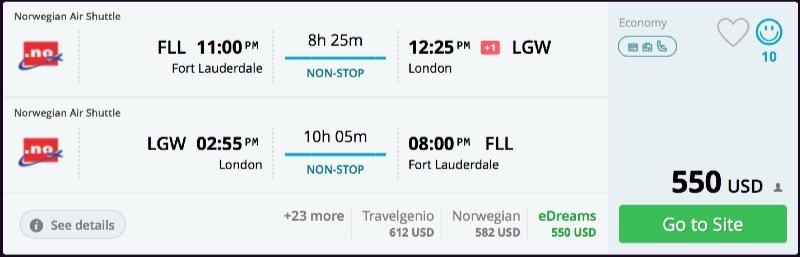 Miami to London