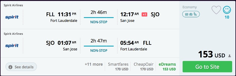 Miami to San Jose, Cost Rica