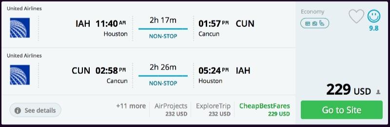 Houston to Cancun