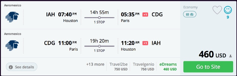 Houston to Paris