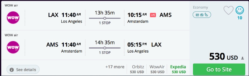 Los Angeles to Amsterdam