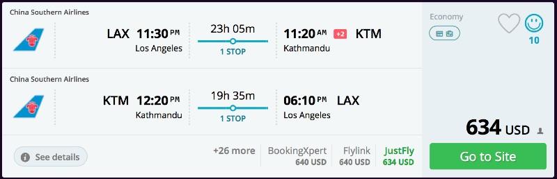 Los Angeles to Kathmandu, Nepal