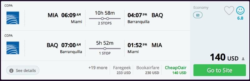 Miami to Barranquilla