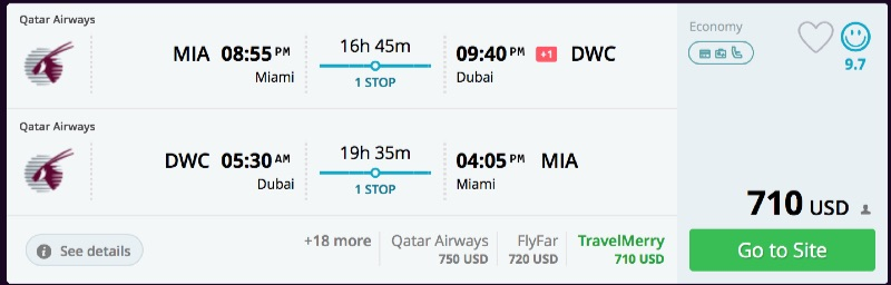 Miami to Dubai