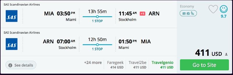 Miami to Stockholm