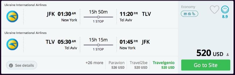New York to Tel Aviv