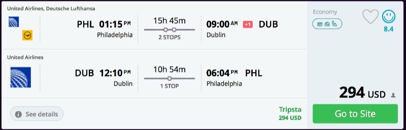 Philadelphia to Dublin