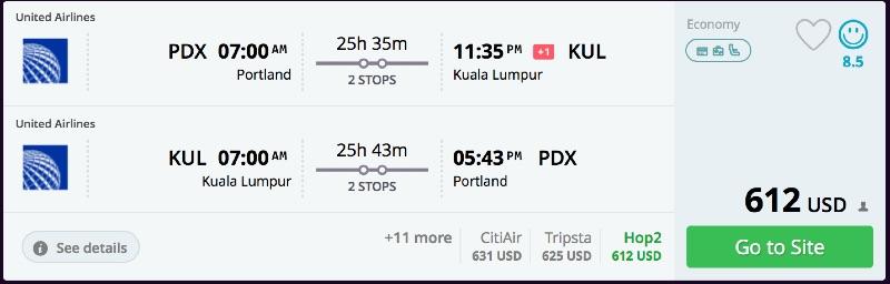 Portland to Kuala Lumpur