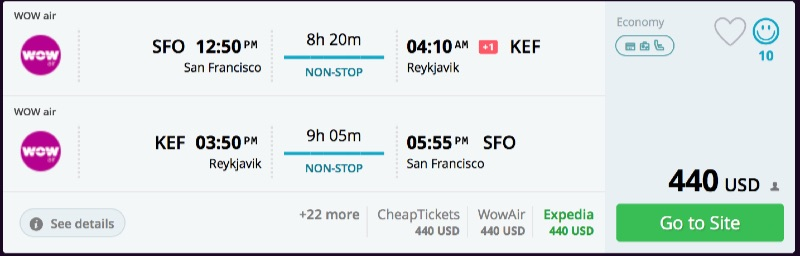 San Francisco to Reykjavik, Iceland