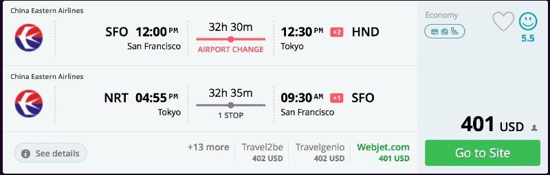 San Francisco to Tokyo