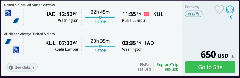 Washington to Kuala Lumpur