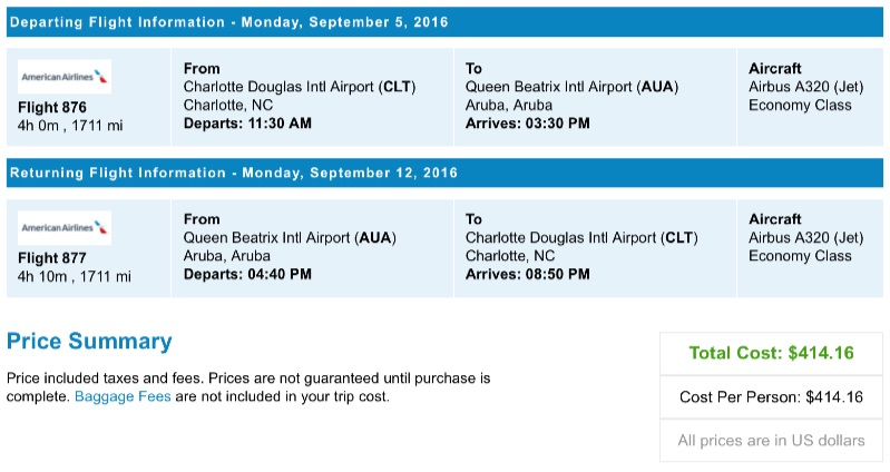 Charlotte to Aruba
